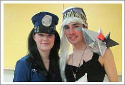 Women dresses as a Police women.